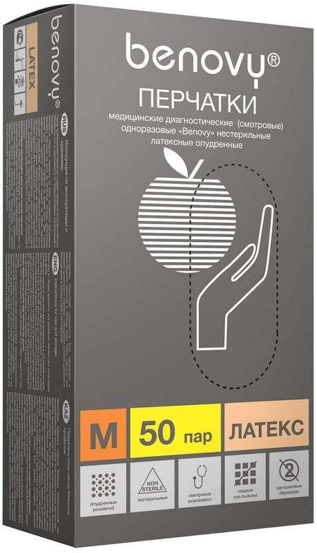 Бенови перчатки смотровые латексные нестерильные опудренные размер m 50 шт., фото №1