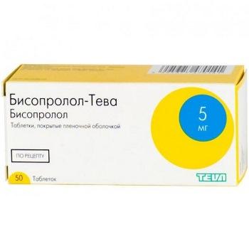 Бисопролол-тева 5мг 50 шт. таблетки покрытые пленочной оболочкой, фото №1