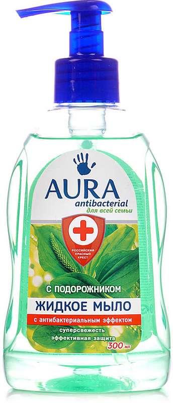 Аура мыло жидкое антибактериальное подорожник 300мл, фото №1