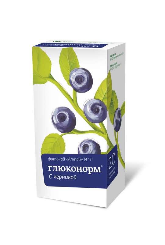 ФИТОЧАЙ АЛТАЙ N11 глюконорм черника N20 фильтр-пакет