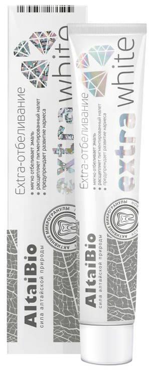 Алтайбио зубная паста экстра отбеливание активные микрогранулы (75мл) 100г, фото №1