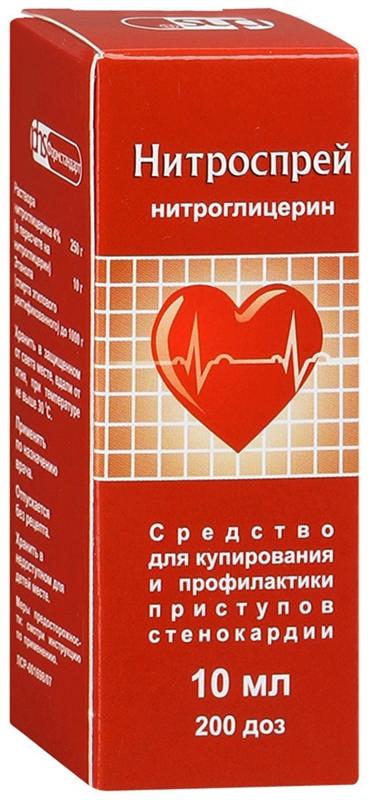 НИТРОСПРЕЙ спрей подъязычный дозированный 0.4 мг/доза 200 доз