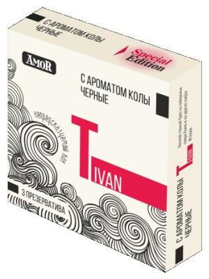 Амор презервативы черные с ароматом колы 3 шт., фото №1