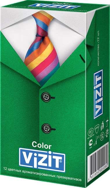 Визит презервативы ароматизированные и цветные 12 шт., фото №1