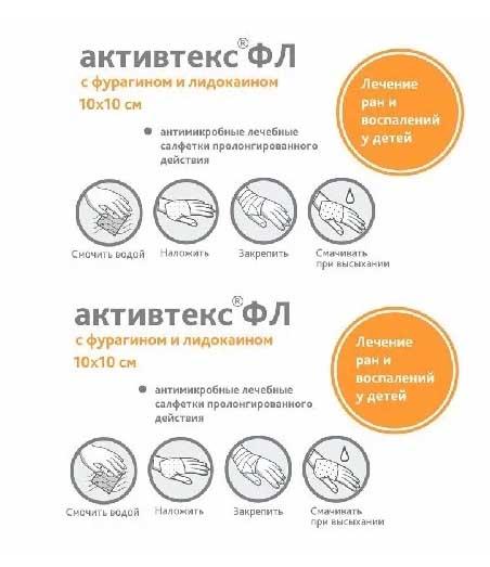 Активтекс флакон (фурагин,лидокаин) салфетка 10 шт., фото №1