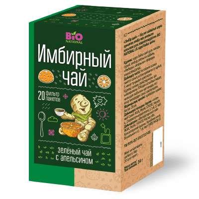 Чай зеленый с имбирем и апельсином, 20 фильтр-пакетов, bio national, фото №1
