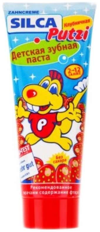 Силка путзи зубная паста детская клубничная 2-12лет 75мл, фото №1