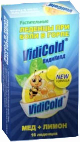 Видиколд леденцы при боли в горле мед/лимон 16 шт., фото №1