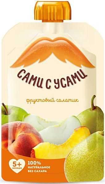 Сами с усами пюре-салатик яблоко/персик/груша 5+ 100г, фото №1