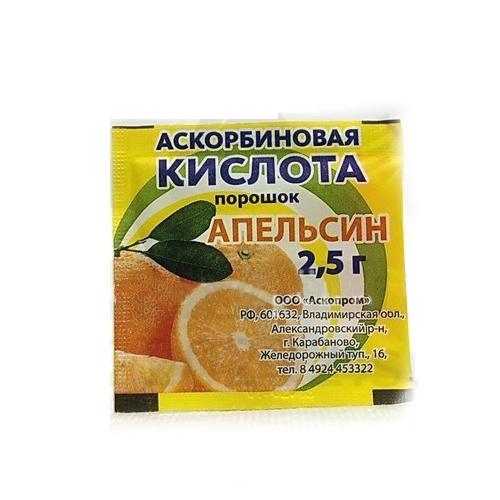 Аскорбиновая кислота порошок апельсин 2,5г 1 шт., фото №1