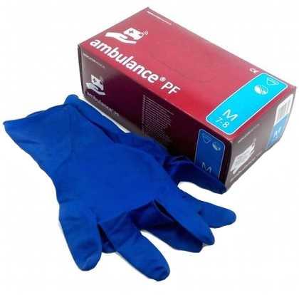 Амбуленс пф перчатки латексные неопудренные повышенной прочности синие размер м 25 шт. пар, фото №1