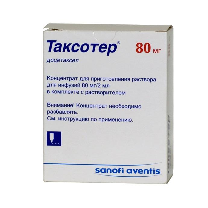 Таксотер концентрат для приготовления раствора для инфузий 80 мг/2 мл 1 шт.;