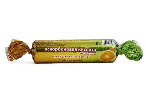 Аскорбиновая кислота эко таблетки с сахаром апельсин 10 шт. крутка, фото №1