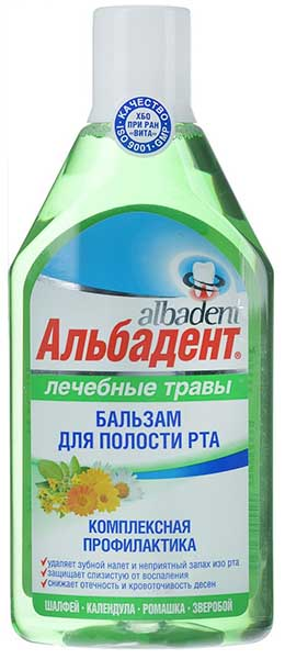 Альбадент бальзам-ополаскиватель для полости рта лечебные травы 400мл, фото №1