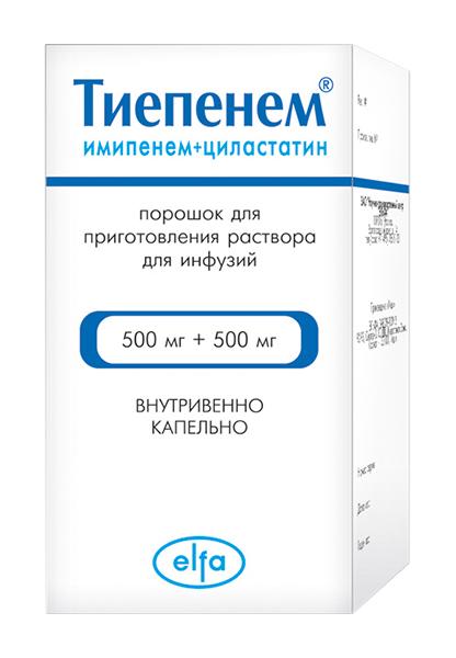 ТИЕПЕНЕМ 500мг+500мг 1 шт. порошок для приготовления раствора для инфузий