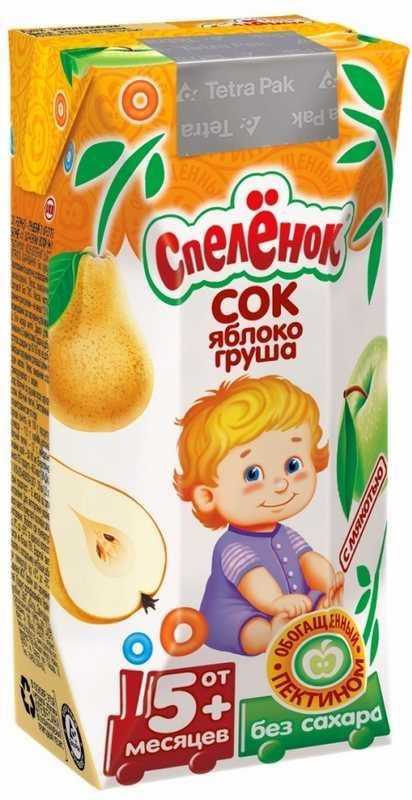 Спеленок сок с мякотью яблоко/груша с пектином 5+ 0,2л, фото №1