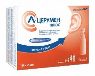 А-церумен плюс средство для промывания ушного прохода 2мл 10 шт. флакон -капельница, фото №1