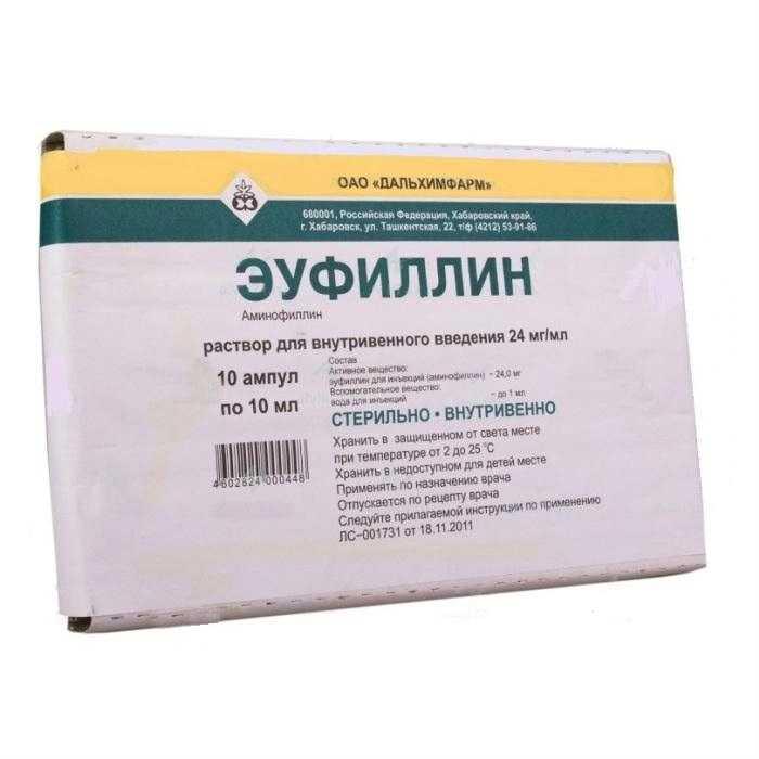 ЭУФИЛЛИН раствор для инъекций 2.4 % 10 шт.
