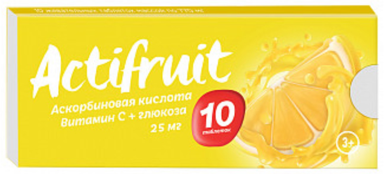 АКТИФРУТ ВИТАМИН С таблетки жевательные с сахаром 2,5г 10 шт.