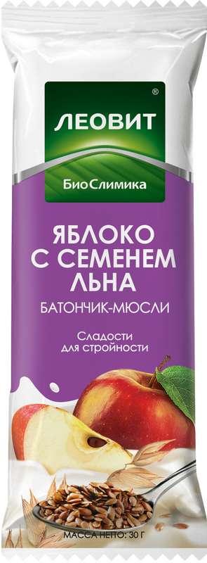 Леовит биослимика батончик-мюсли яблоко/семена льна 30г, фото №1