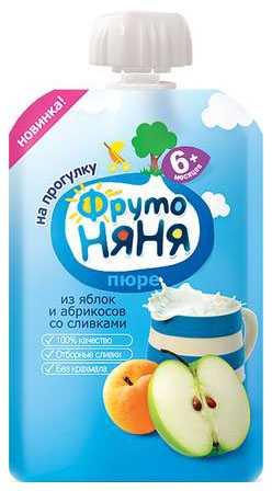 Фрутоняня пюре яблоко/абрикос/сливки 6+ мягкая упаковка 90г/80г, фото №1