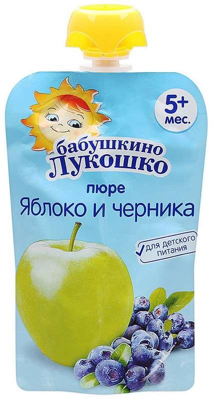 Бабушкино лукошко пюре яблоко/черника 5+ 90г дой-пак, фото №1