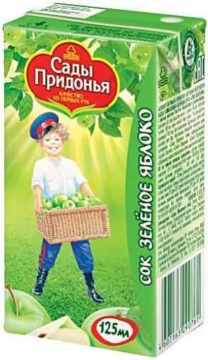 Сады придонья сок зеленое яблоко 0,125 л 3+, фото №1
