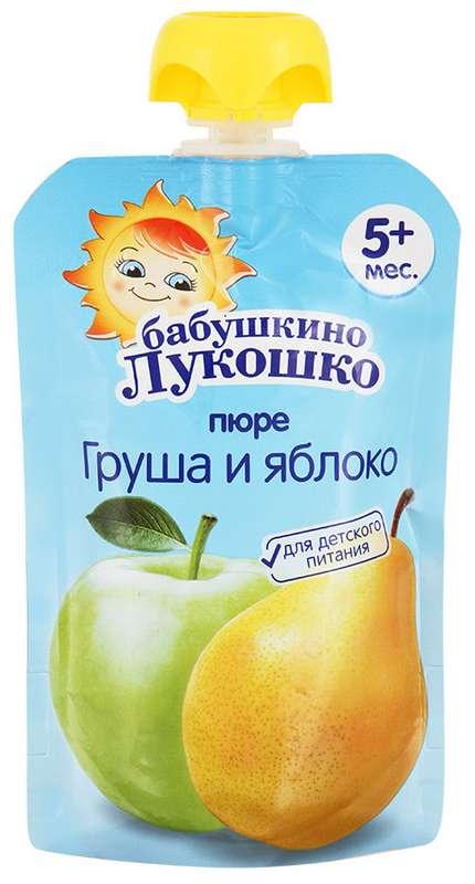 Бабушкино лукошко пюре груша/яблоко 5+ дой-пак 90г, фото №1