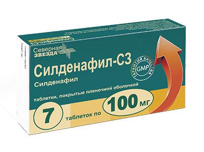 Силденафил-сз 100мг 7 шт. таблетки покрытые пленочной оболочкой, фото №1