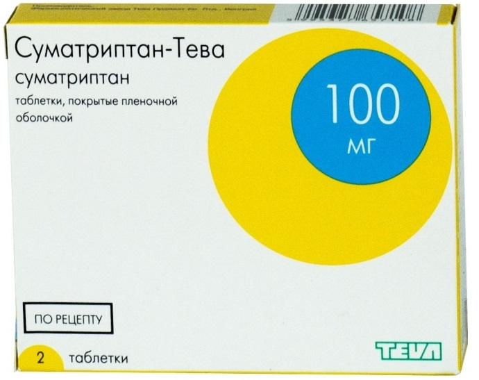 СУМАТРИПТАН-ТЕВА таблетки 100 мг 2 шт.