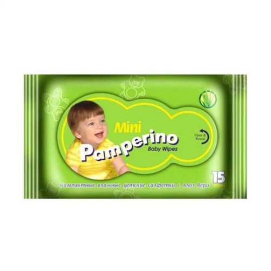 Памперино салфетки влажные детские алоэ мини 15 шт., фото №1