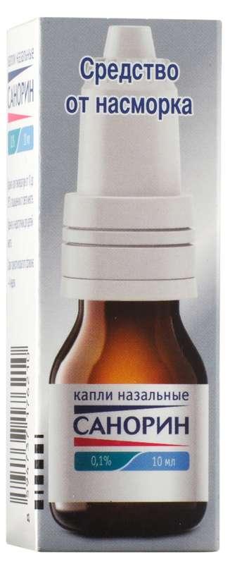 Санорин 0,1% 10мл капли назальные, фото №1