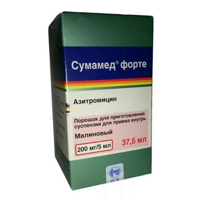 СУМАМЕД ФОРТЕ 200мг/5мл 35,573 (37,5мл) порошок для приготовления суспензии для приема внутрь