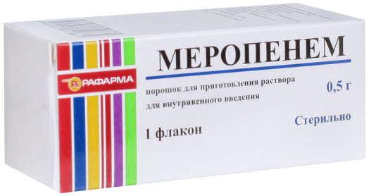 МЕРОПЕНЕМ 0,5г 1 шт. порошок для приготовления раствора для внутривенного введения