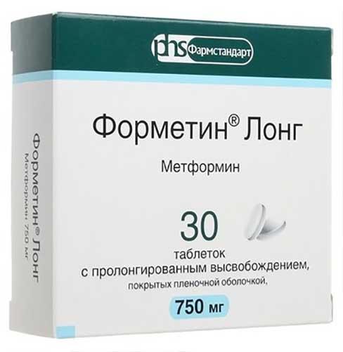Форметин лонг 750мг 30 шт. таблетки с пролонгированным высвобождением покрытые пленочной оболочкой, фото №1