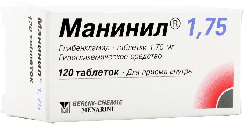 МАНИНИЛ таблетки 1.75 мг 120 шт.