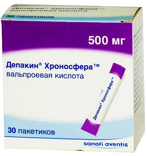 Депакин хроносфера 500мг 30 шт. гранулы пролонгированного действия, фото №1