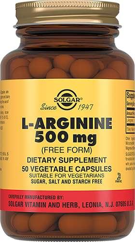 Солгар л-аргинин капсулы 500мг 50 шт., фото №1