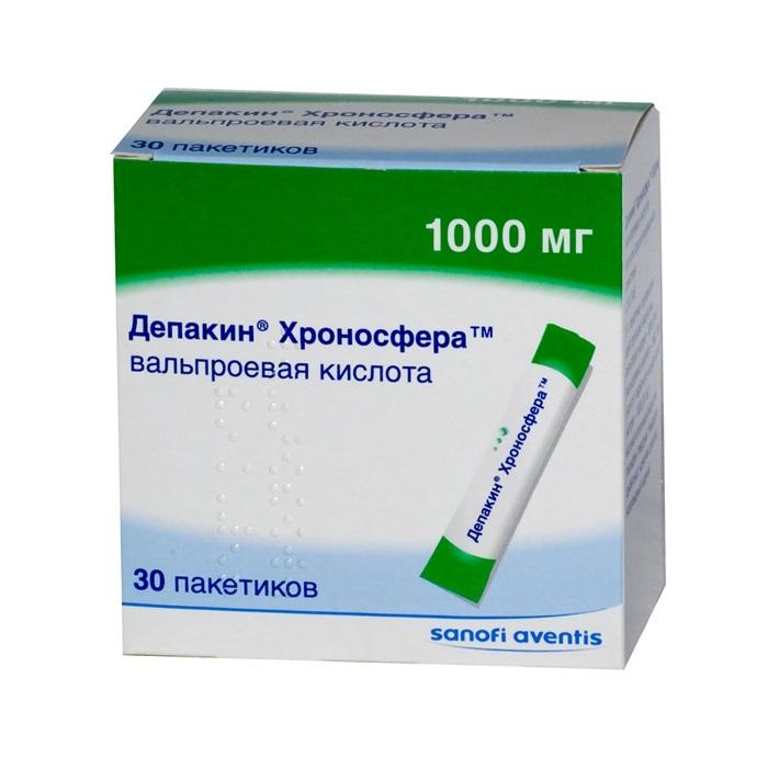 ДЕПАКИН ХРОНОСФЕРА 1000мг 30 шт. порошок