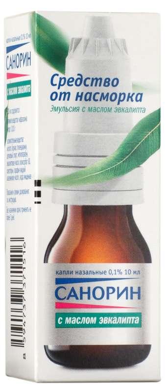 Санорин с маслом эвкалипта 0,1% 10мл капли назальные, фото №1