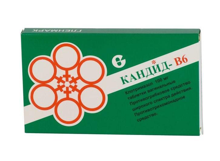 КАНДИД-В6 таблетки вагинальные 100 мг 6 шт.