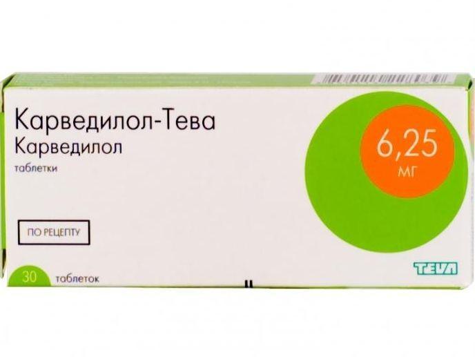 КАРВЕДИЛОЛ-ТЕВА таблетки 6.25 мг 30 шт.