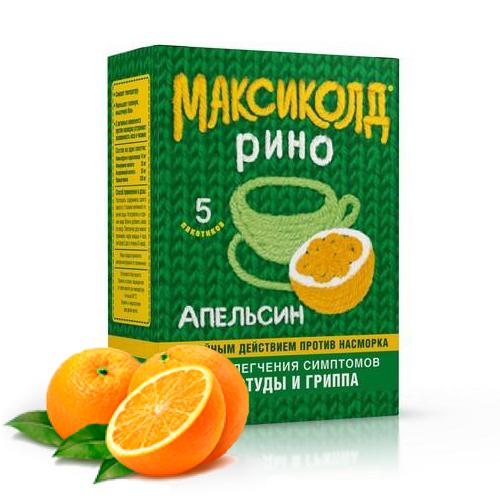 Максиколд рино 5 шт. порошок апельсин, фото №1