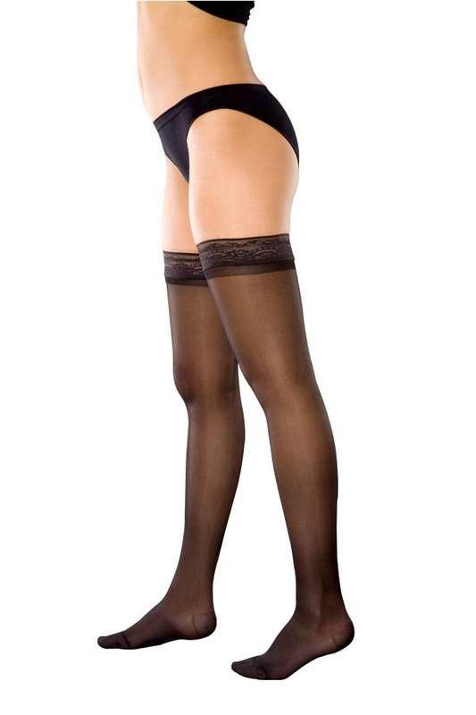 Венотекс чулки компрессионные женские прозрачные с ажурным верхом 74 s черный, фото №1