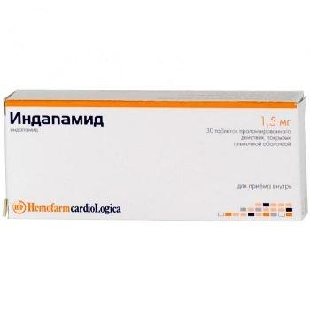 Индапамид 1,5мг 30 шт. таблетки пролонгированного действия покрытые пленочной оболочкой, фото №1