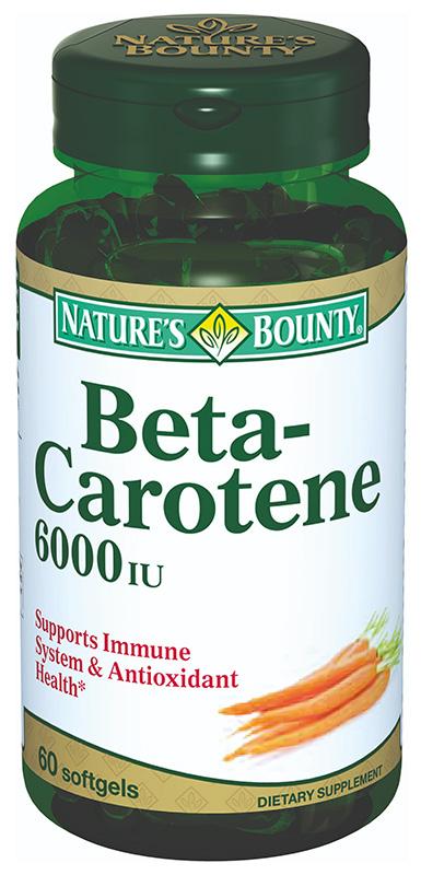 НЭЙЧЕС БАУНТИ капсулы 6000МЕ Бета-каротин 60 шт.