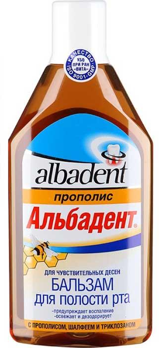 Альбадент бальзам-ополаскиватель для полости рта для чувствительных десен прополис 400мл, фото №1