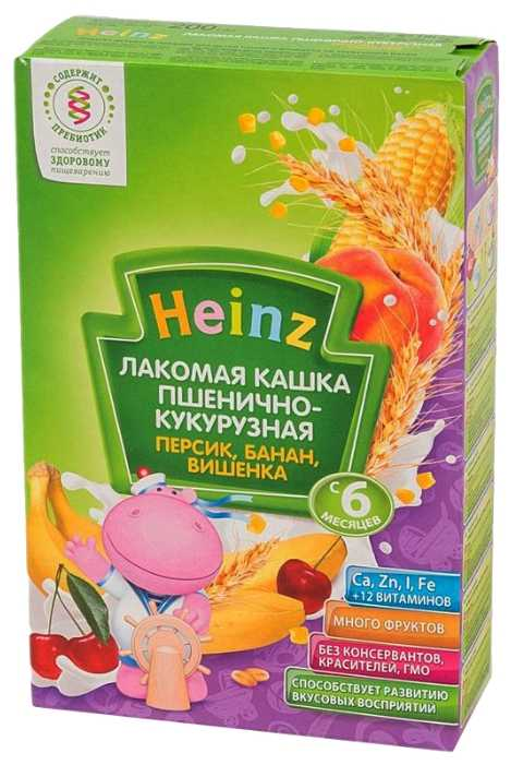 Хайнц каша пшенично-кукурузная лакомая персик/банан/вишенка 6+ 200г heinz, фото №1