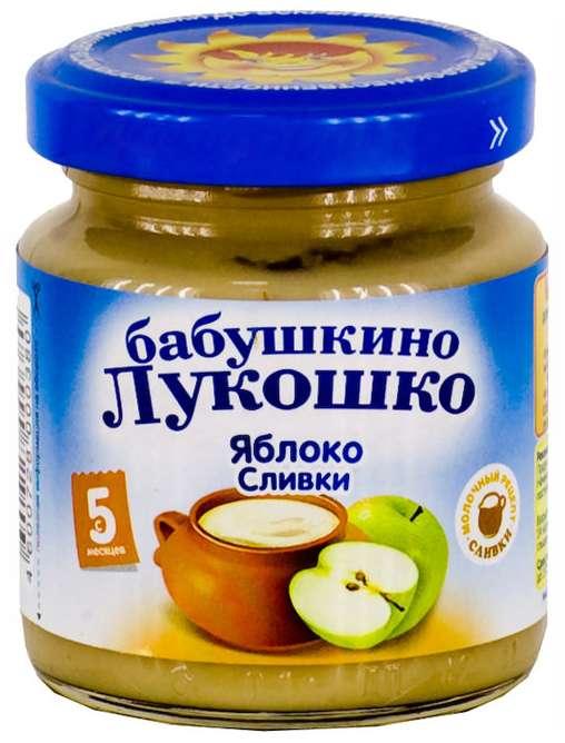 Бабушкино лукошко пюре неженка яблоки/сливки 5+ 100г, фото №1