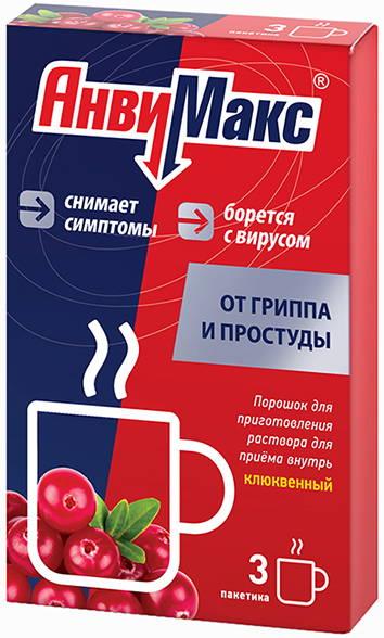 Анвимакс 5г 3 шт. порошок для приготовления раствора для приема внутрь клюква фармвилар сотекс, фото №1